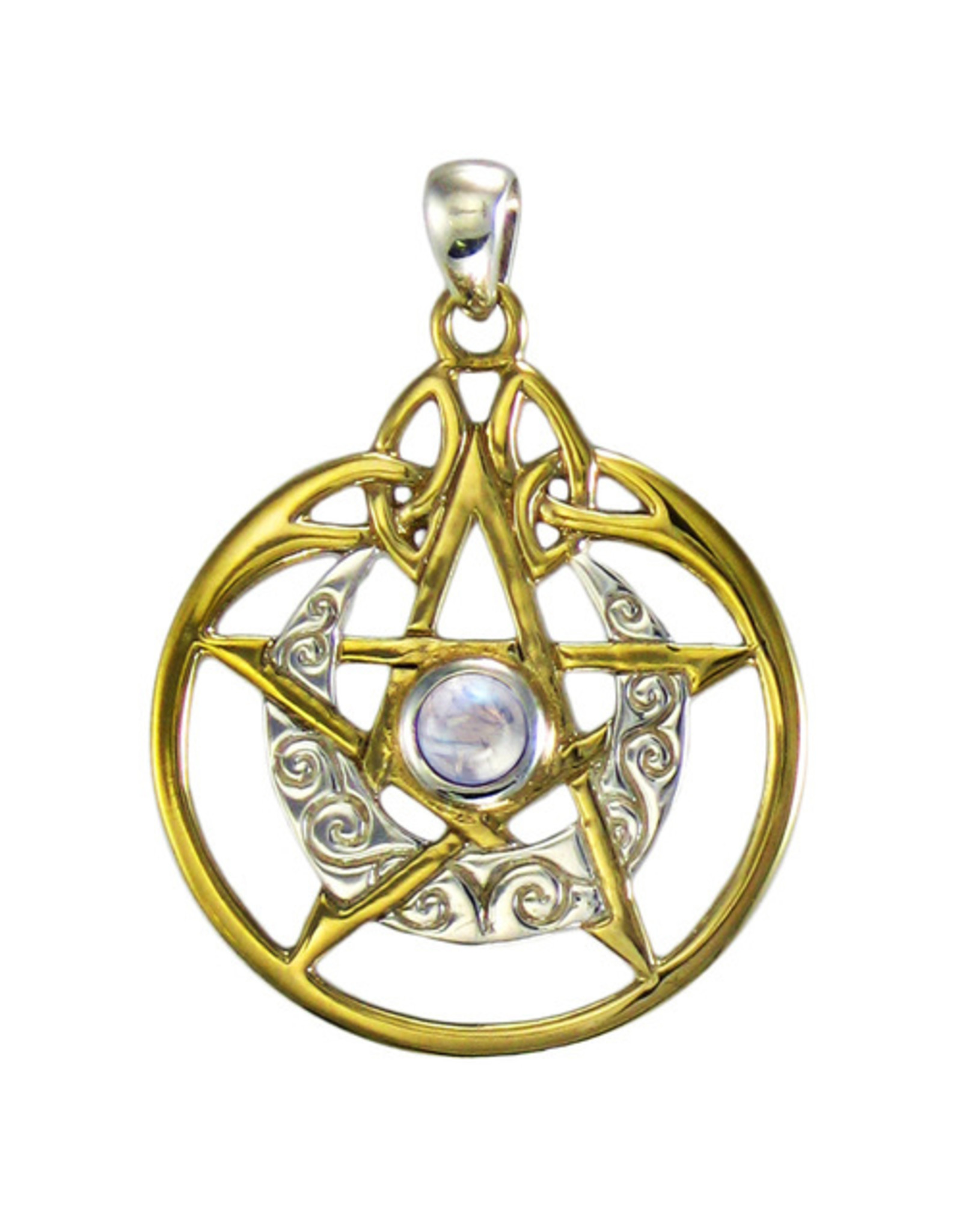 Vermeil Crescent Moon Pentacle Pendant with Circle and White Moonstone in Sterling Silver