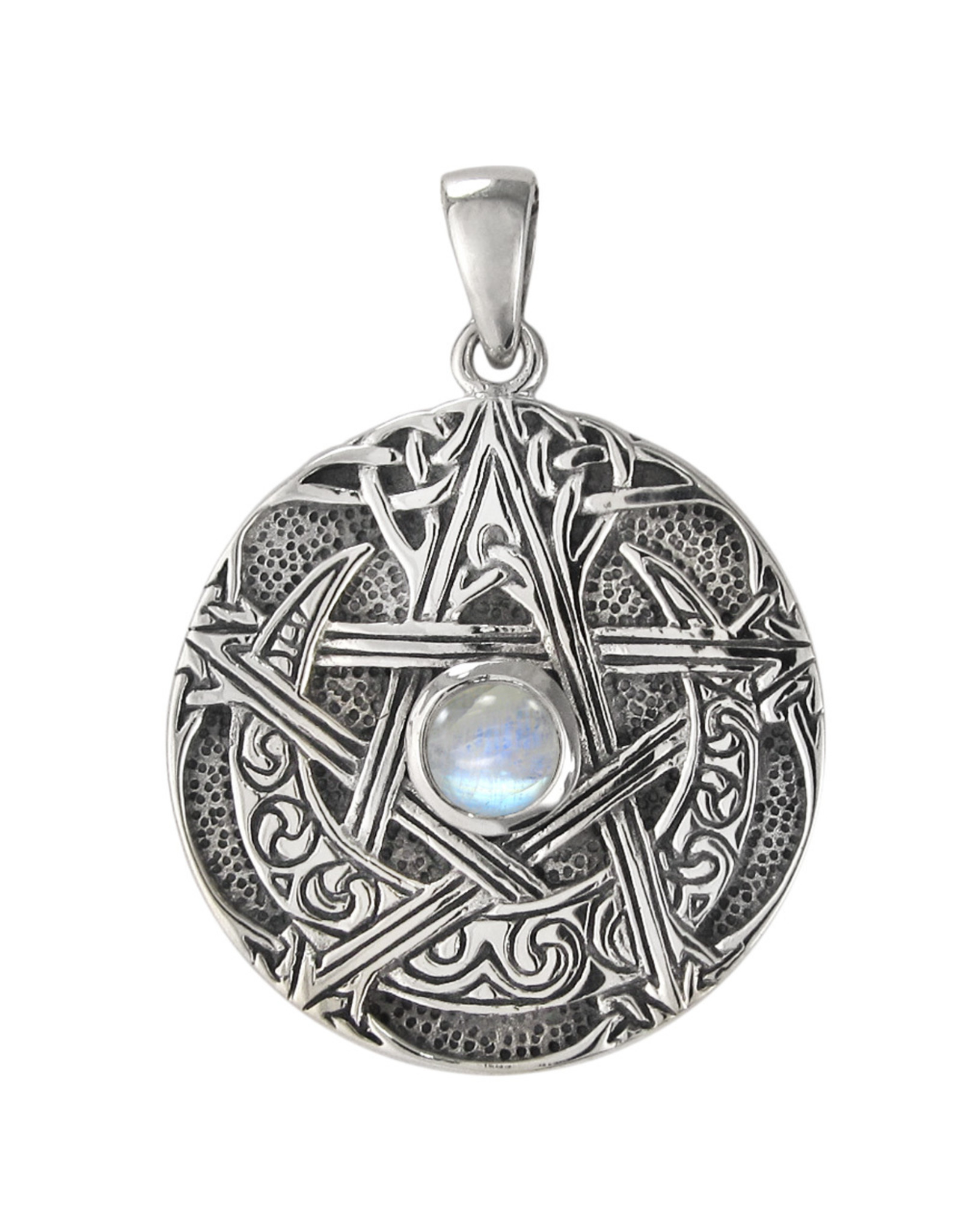 Large Moon Pentacle Pendant with Rainbow Moonstone in Sterling Silver