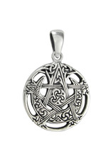 Cut Moon Pentacle Pendant in Sterling Silver