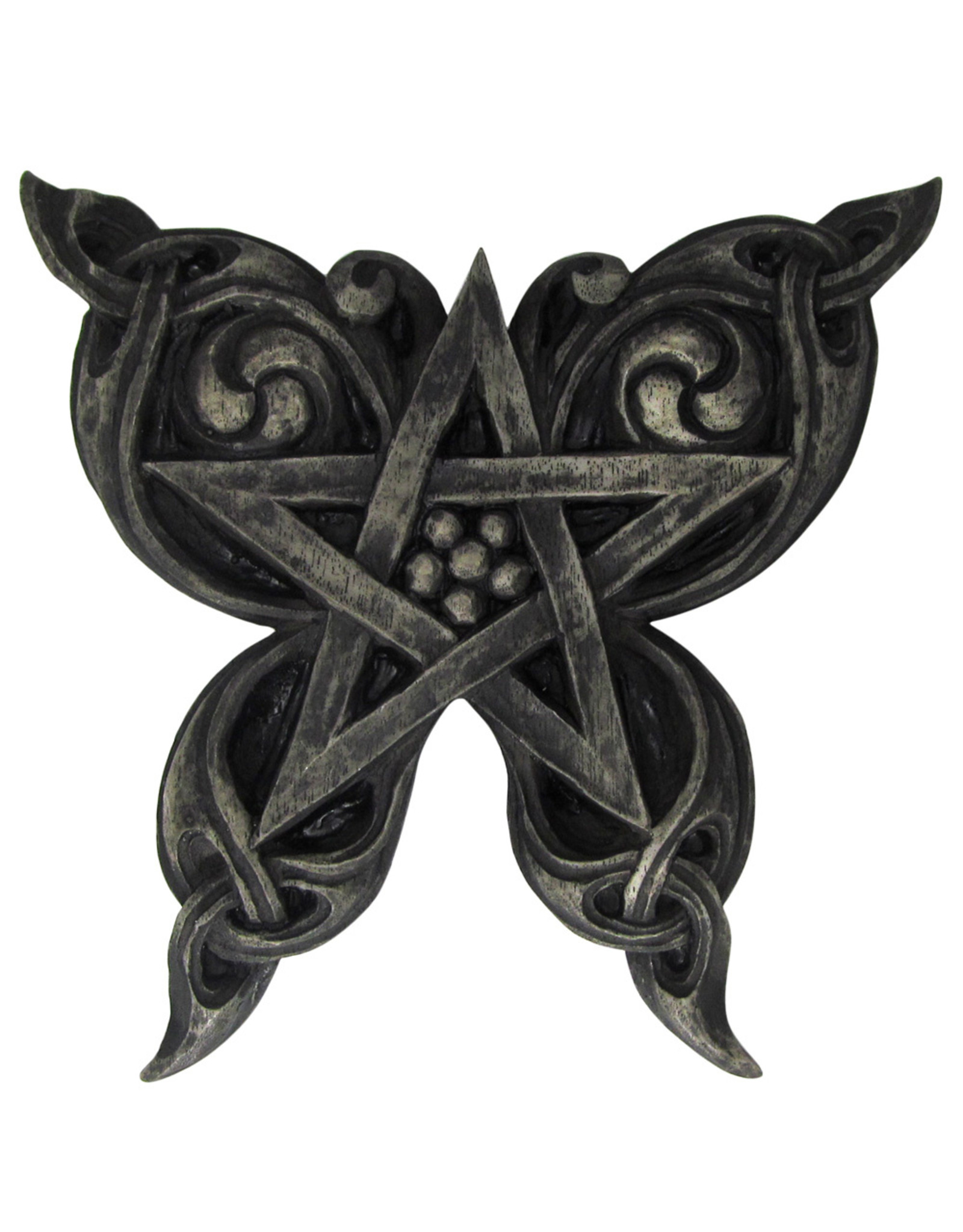 Butterfly Pentacle Plaque in Stone Finish