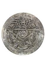 Large Moon Pentacle Plaque in Silver Finish