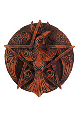 Crescent Raven Pentacle Plaque in Wood Finish