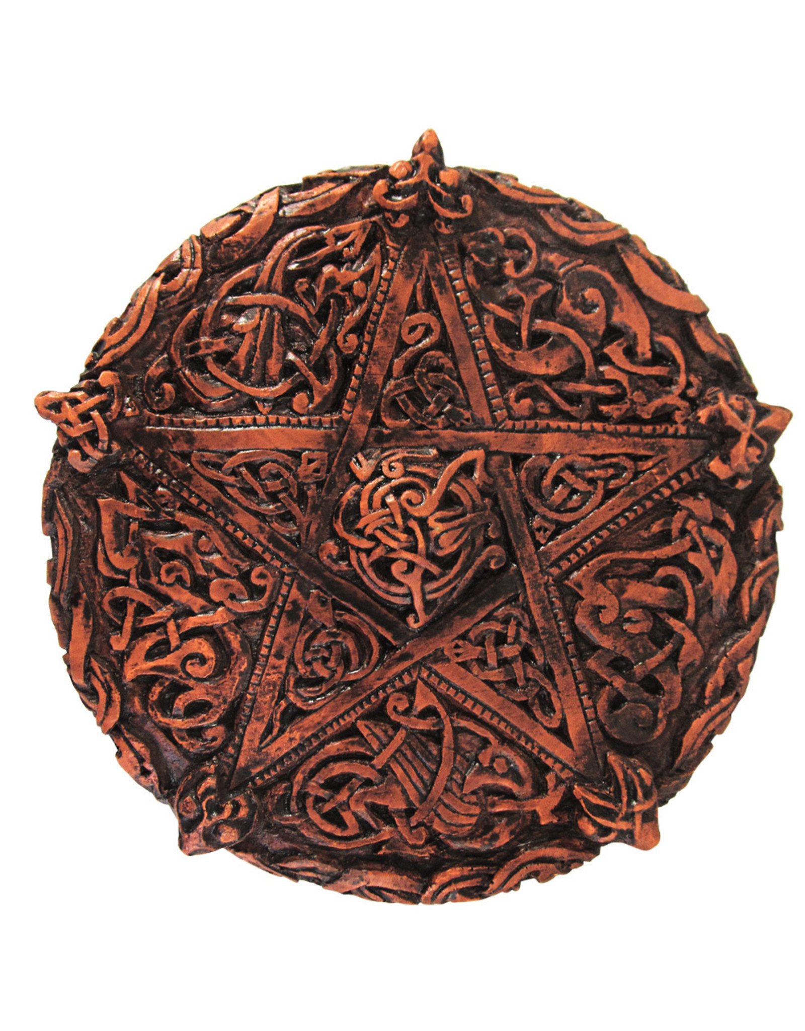 Small Knotwork Pentacle Plaque in Wood Finish