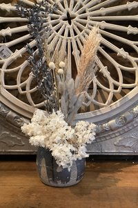 Dried Flower Arrangement in Pot- Gray