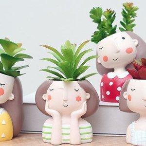 Ceramic Girl Pots (random Selection)