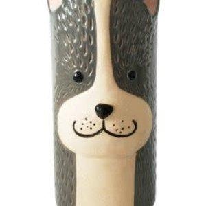 Dog Vase  Orange & Stand Med