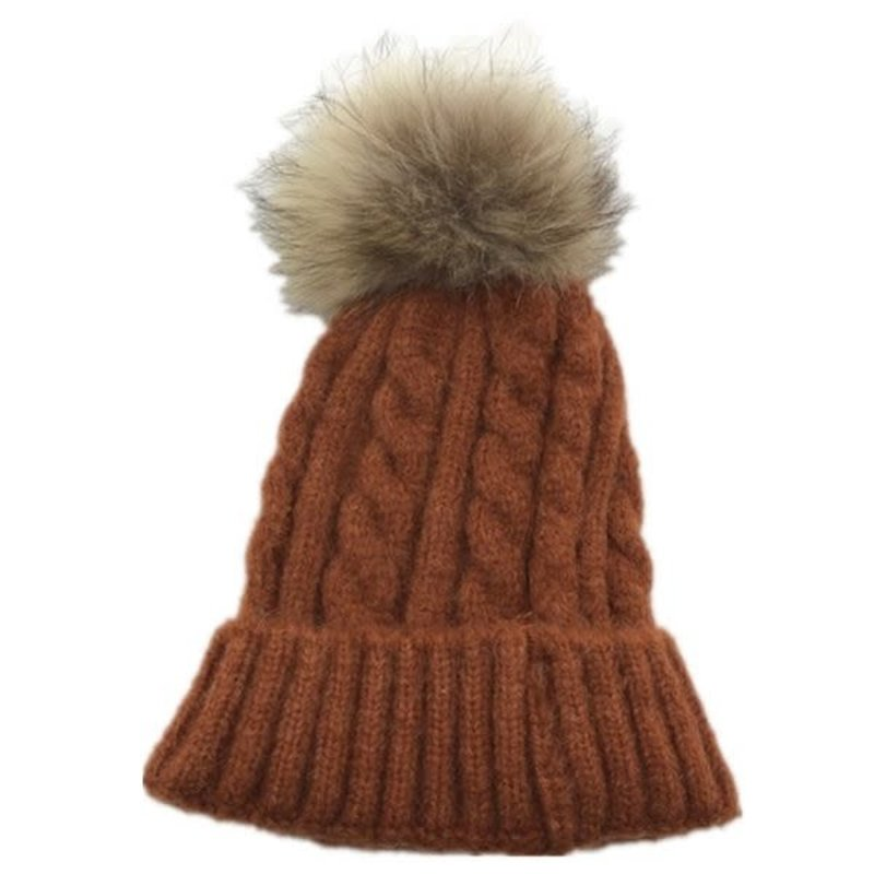 Wollen Hat With Real Popm Pom Rsh09