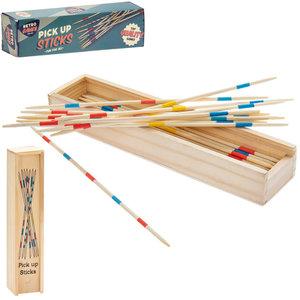 Retro Pick Up Sticks in wood storage box