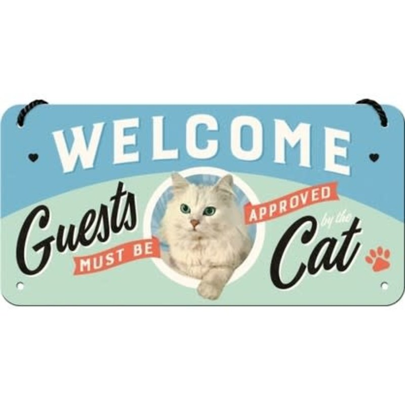 Welcome Guests Cat -small Hanging Sign