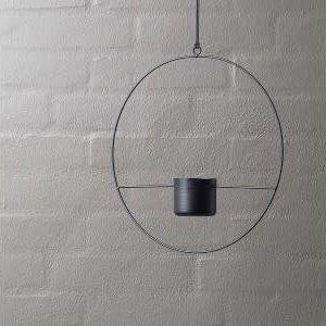 HALO Black- Hanging Metal Ring Planter 60mm