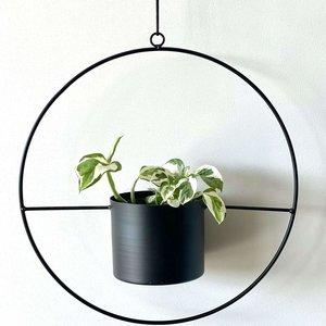 HALO Black- Hanging Metal Ring Planter 95mm