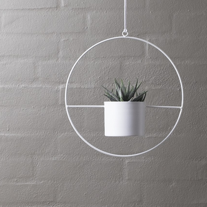 HALO White- Hanging Metal Ring Planter 95mm