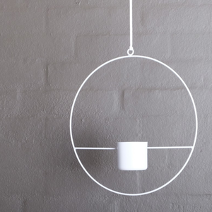 HALO White- Hanging Metal Ring Planter 60mm