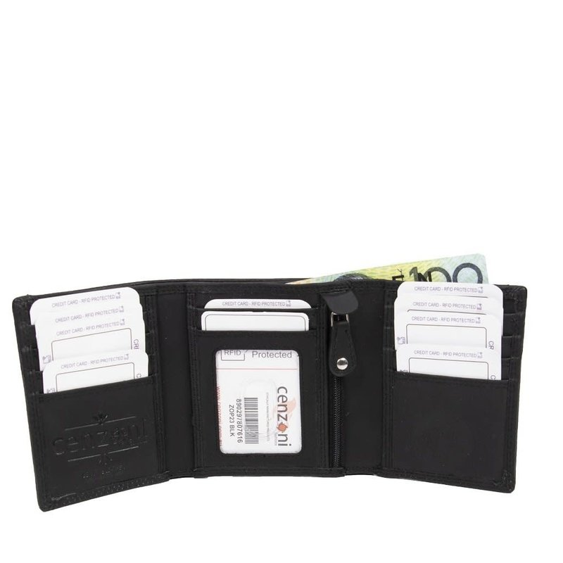 Black Mens Trifold Leather Wallet