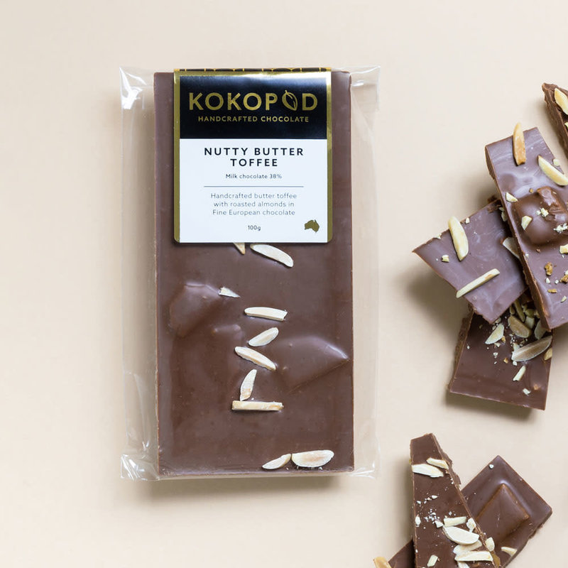 Dark Nutty Butter Toffee Chocolate Block 100g KOKOPOD