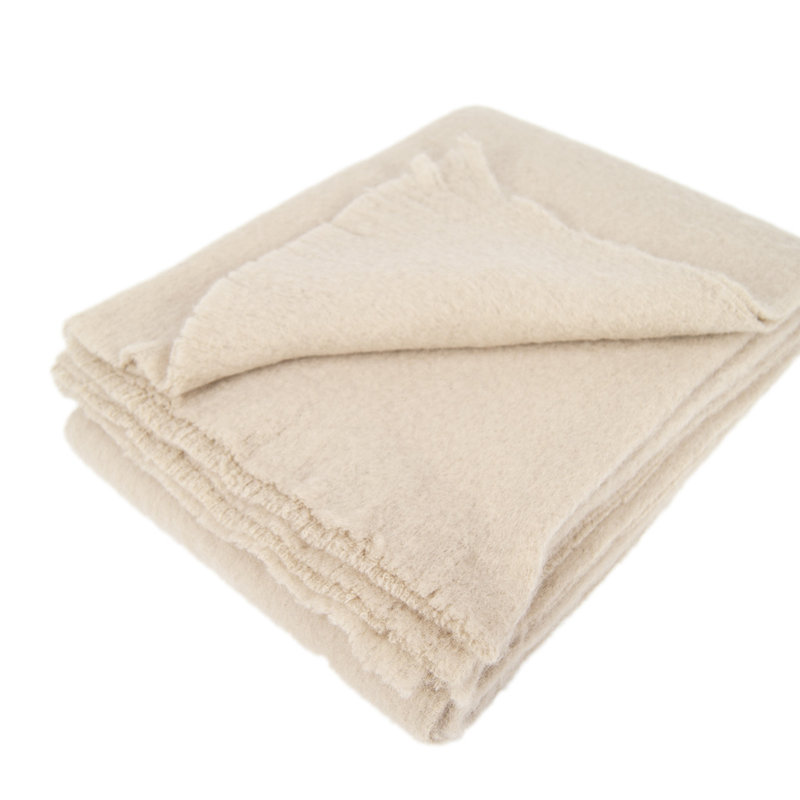 AAF Australian Alpaca Throw Sand Brushed/Broucle 180cm X 130cm