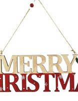 Merry Christmas with Tree & Reindeer Hanging Sign Red & Green 40cm