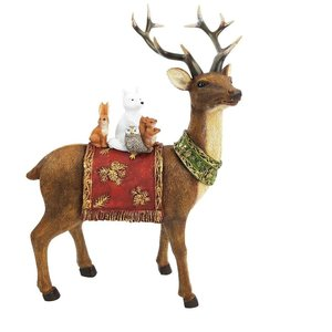 Woodland Reindeer Standing Decoration Brown & Red 29cm