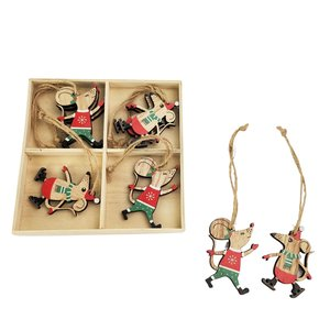 Christmas Mice holding a Present & Tree Hanging Decoration Red 6cm