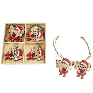 Cute Christmas Koala's Hanging Decoration Red 6cm S/8