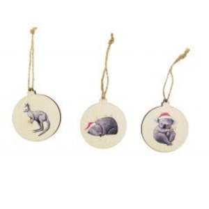RT Christmas Animals Wooden Discs Hanging Decoration Red 7cm S/3