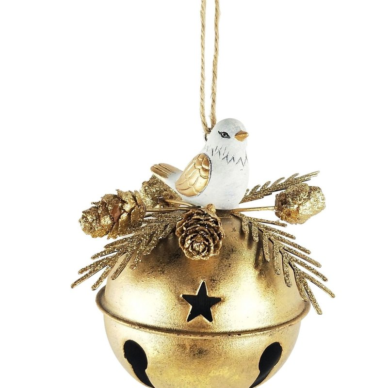 Christmas Bird on Bell Hanging Decoration White & Gold 11cm