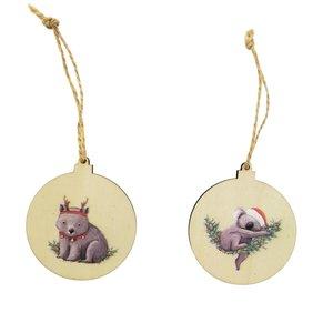 RT Koala & Wombat Wooden Discs Hanging Decoration Grey 7cm S/2