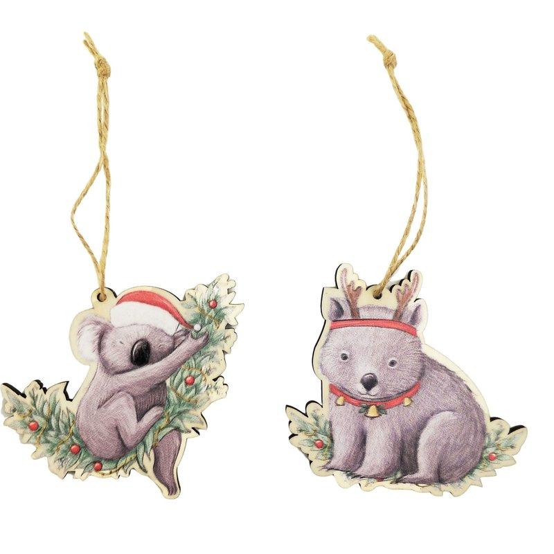 RT Koala & Wombat Wooden Cutouts Hanging Decoration Grey 8cm (2 Asst random selection)