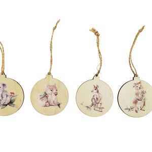 SE Aus Animals Wooden Discs Hanging Decoration Brown 7cm S/4