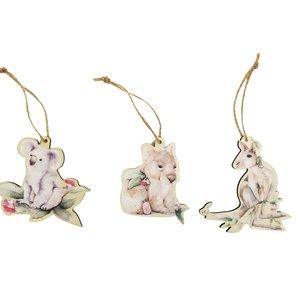 SE Aus Animals Wooden Cutouts Hanging Decoration Brown 10cm (3 Asst random selection)