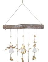 Reindeer, Santa & Angel with Bells & Branch Hanging Decoration White & Gold