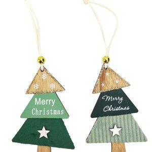 Merry Christmas Trees Hanging Decoration Sage 12cm (2 Asst random selection)
