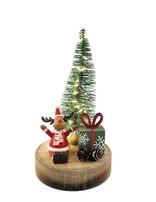 Cute Santa, Tree & Present Scene with Lights Decoration Red & Green 21cm