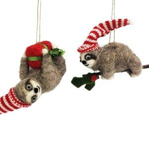 Quirky Felt Sloths Hanging Decoration Grey 10cm (2 Asst random selection)