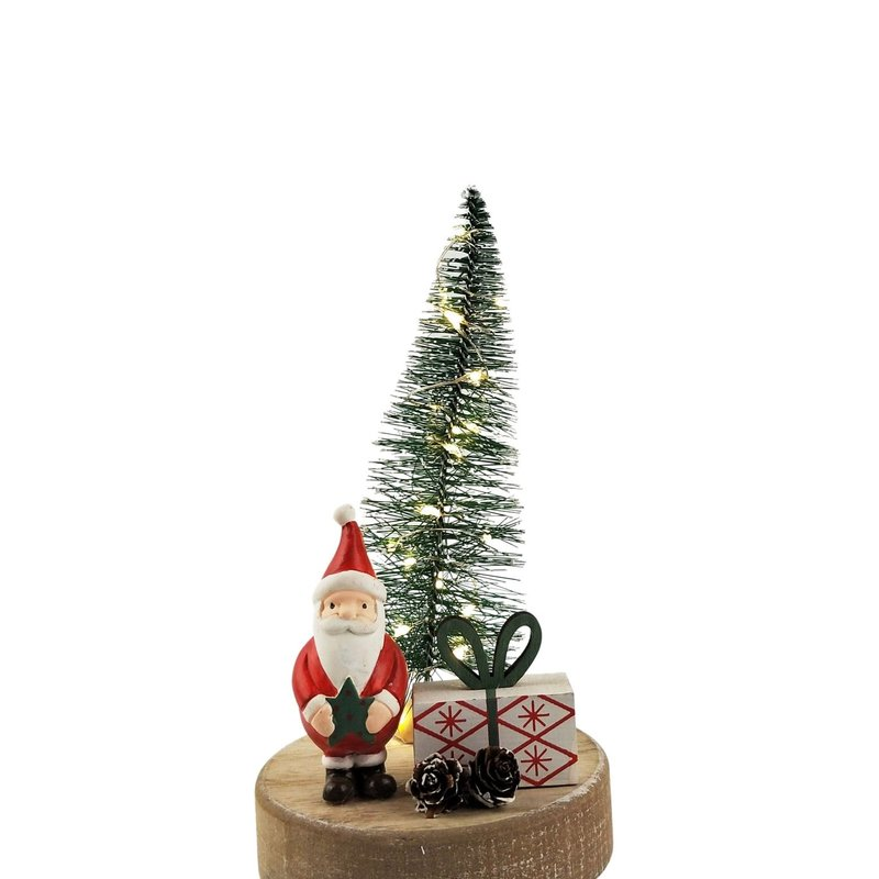 Cute Reindeer, Tree & Present Scene with Lights Decoration Red & Green 21cm