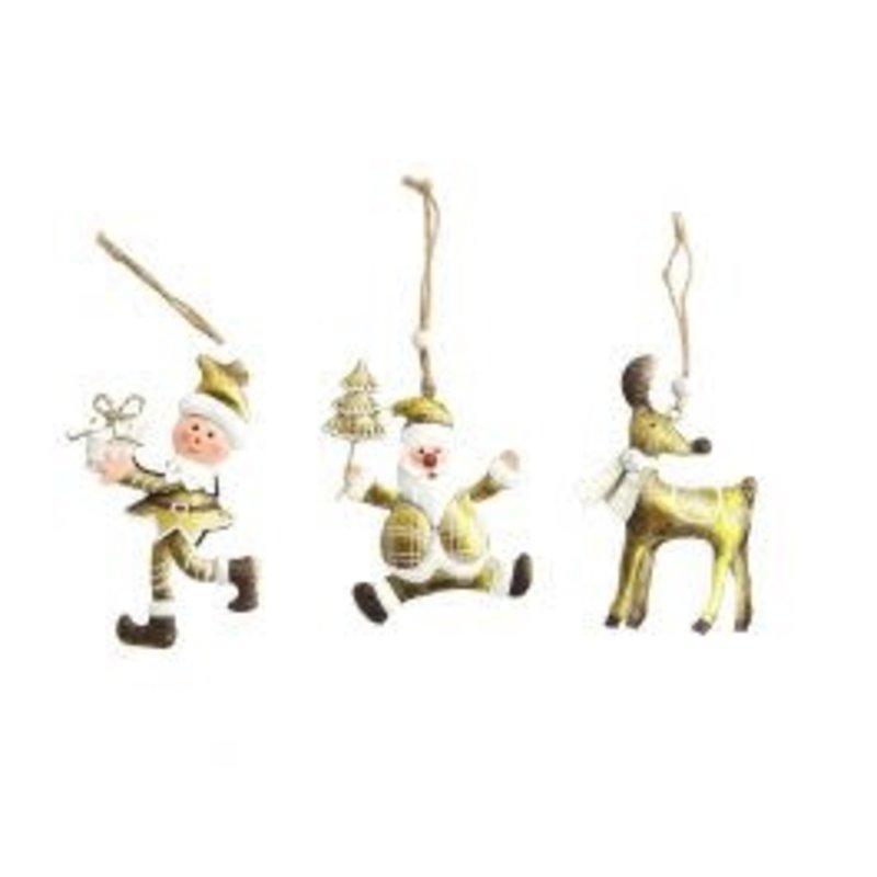 Metal Santa, Elf & Reindeer Hanging Decoration White & Gold 10cm (3 Asst random selection)
