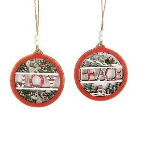 Joy & Peace Baubles Hanging Decoration Red & Green 10cm (2 Asst random selection)