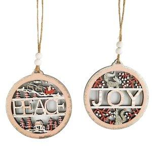 Joy & Peace Baubles Hanging Decoration Pink 10cm (2 Asst random selection)