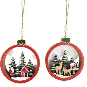Santa & Reindeer Scene in Bauble Hanging Decoration Red & Green 12cm (2 Asst random selection)