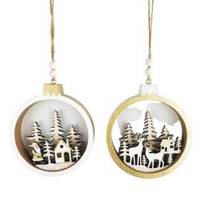 Santa & Reindeer Scene in Bauble Hanging Decoration White & Gold 12cm (2 Asst random selection)