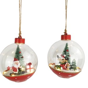 Cute Santa & Reindeer in Bauble with Lights Hanging Decoration Red & Green 12cm (2 Asst random selection)