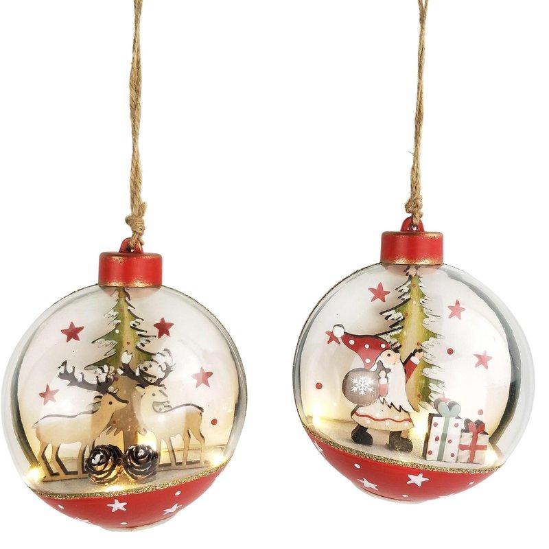 Santa & Reindeer Scene in Bauble with Lights Hanging Decoration Red & Green 12m (2 Asst random selection)