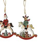 Santa & Reindeer on Rocking Horse Hanging Decoration Red & Green 8cm (2 Asst random selection)