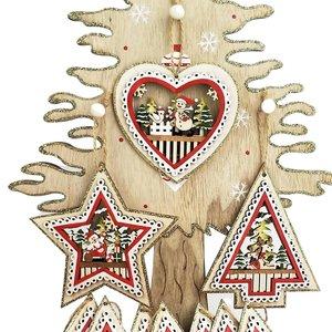 Santa, Reindeer & Snowman Scene Decoration Box Red & Green  (3 Asst random selection)