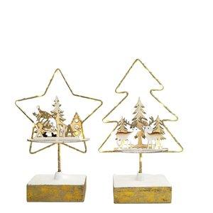 Santa & Reindeer Scenes in Star & Tree with Lights Decoration White & Gold 21cm (2 Asst random selection)