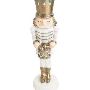 Christmas Nutcracker Standing Decoration White & Sage 18cm