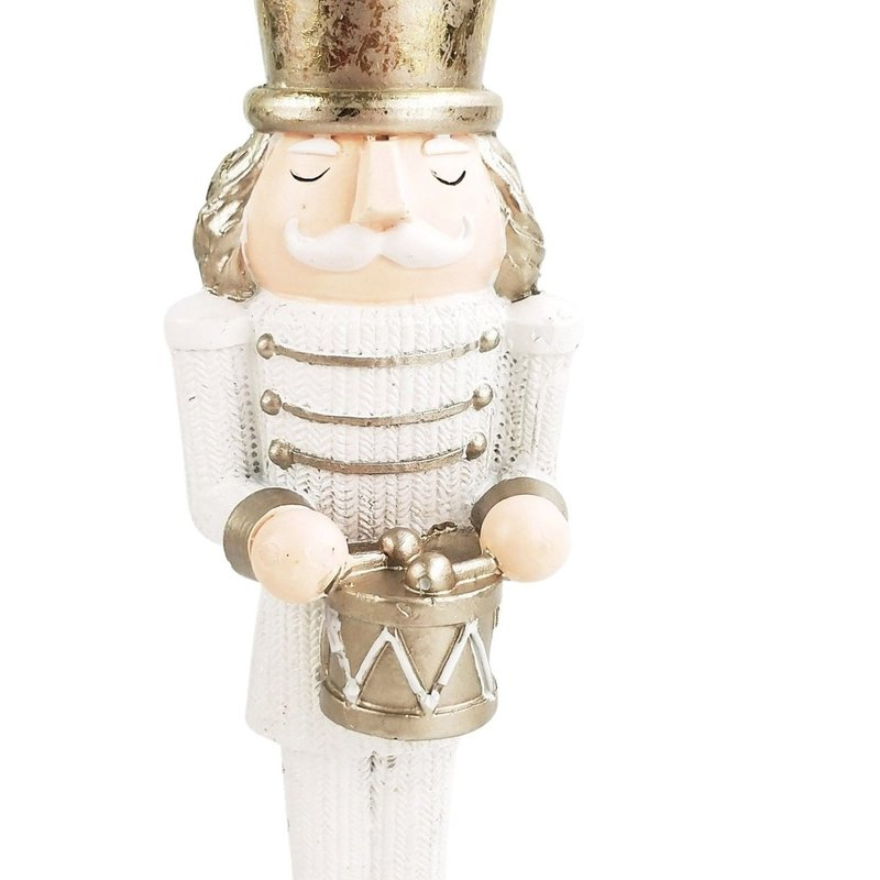 Christmas Nutcracker Standing Decoration White & Sage 23cm