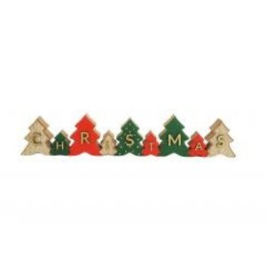 Christmas Tree Sign Decoration Red & Green 40cm