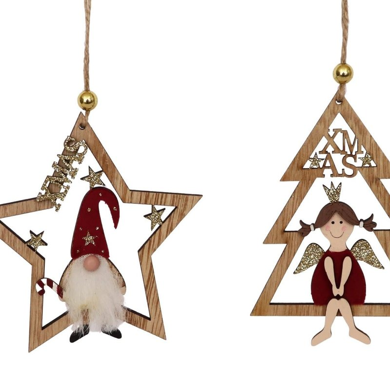 Santa & Angel in Tree & Star Hanging Decoration Red 13cm (2 Asst random selection)