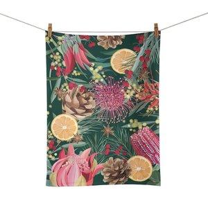 Tea Towel Festive Florals
